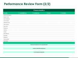 Performance Review Form Communication A262 Ppt Powerpoint Presentation Styles Images