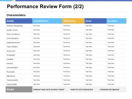 Performance Review Form Technical Skills Ppt Powerpoint Presentation Ideas Graphics