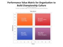 Performance Value Matrix For Organization To Build Championship Culture