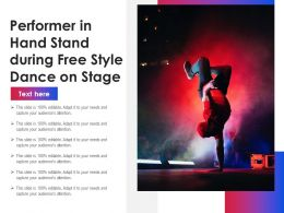 Performer In Hand Stand During Free Style Dance On Stage