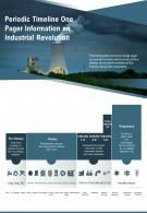 Periodic Timeline One Pager Information On Industrial Revolution Presentation Report Infographic PPT PDF Document