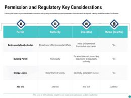 Permission And Regulatory Key Considerations Checklist Ppt Powerpoint Presentation Infographics