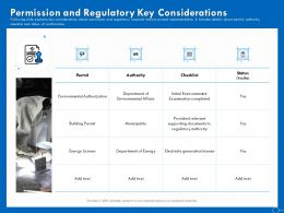 Permission And Regulatory Key Considerations Ppt Powerpoint Presentation Infographic