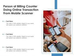 Person At Billing Counter Doing Online Transaction From Mobile Scanner
