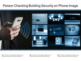 Person Checking Building Security On Phone Image