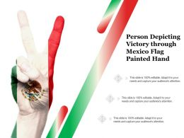 Person Depicting Victory Through Mexico Flag Painted Hand