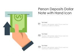 Person Deposits Dollar Note With Hand Icon