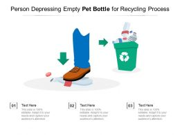 Person Depressing Empty Pet Bottle For Recycling Process