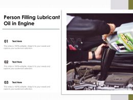 Person Filling Lubricant Oil In Engine