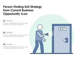 Person Finding Exit Strategy From Current Business Opportunity Icon