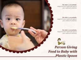 Person Giving Food To Baby With Plastic Spoon