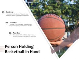 Person Holding Basketball In Hand