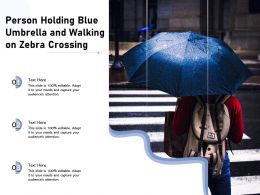 Person Holding Blue Umbrella And Walking On Zebra Crossing