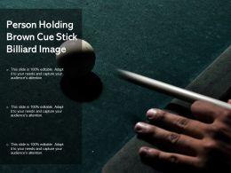 Person Holding Brown Cue Stick Billiard Image