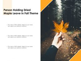 Person Holding Dried Maple Leave In Fall Theme
