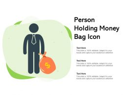 Person Holding Money Bag Icon