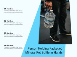 Person Holding Packaged Mineral Pet Bottle In Hands