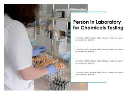 Person In Laboratory For Chemicals Testing