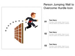 Person Jumping Wall To Overcome Hurdle Icon
