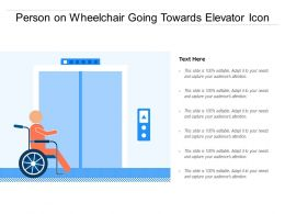 Person On Wheelchair Going Towards Elevator Icon