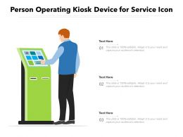 Person Operating Kiosk Device For Service Icon