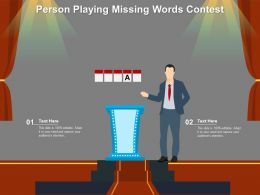 Person Playing Missing Words Contest