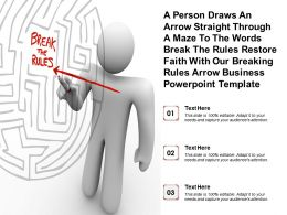 Person Pointing Arrow At Break The Rules In Maze Powerpoint Template