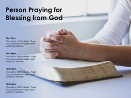 Person Praying For Blessing From God