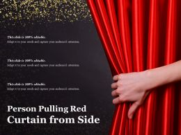 Person Pulling Red Curtain From Side