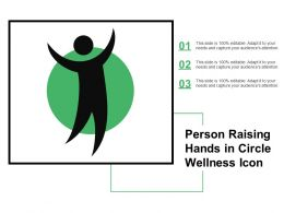 Person Raising Hands In Circle Wellness Icon