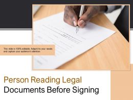 Person Reading Legal Documents Before Signing