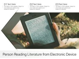 Person Reading Literature From Electronic Device