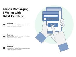Person Recharging E Wallet With Debit Card Icon