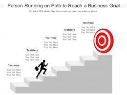 Person Running On Path To Reach A Business Goal Infographic Template