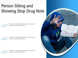 Person Sitting And Showing Stop Drug Note