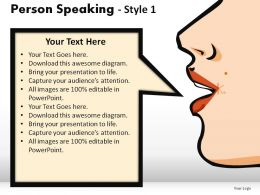 Person Speaking Style 1 Powerpoint Presentation Slides