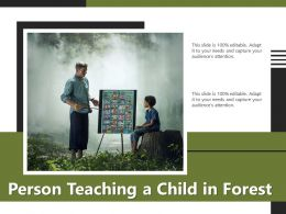 Person Teaching A Child In Forest