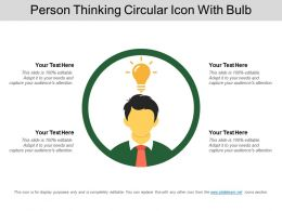Person Thinking Circular Icon With Bulb