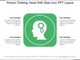 Person Thinking Head With Gear Icon Ppt Layout