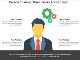 Person Thinking Three Gears Above Head Powerpoint Slide