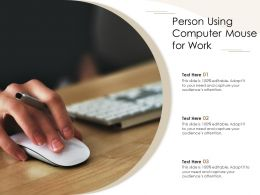 Person Using Computer Mouse For Work