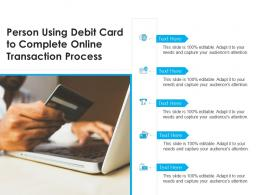 Person Using Debit Card To Complete Online Transaction Process