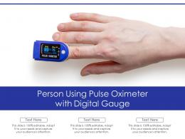 Person Using Pulse Oximeter With Digital Gauge