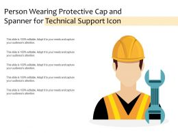 Person Wearing Protective Cap And Spanner For Technical Support Icon