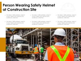 Person Wearing Safety Helmet At Construction Site