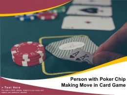Person With Poker Chip Making Move In Card Game