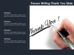 Person Writing Thank You Slide