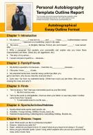 Personal Autobiography Template Outline Report Presentation Report Infographic PPT PDF Document