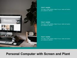 Personal Computer With Screen And Plant