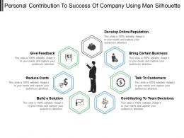 Personal Contribution To Success Of Company Using Man Silhouette